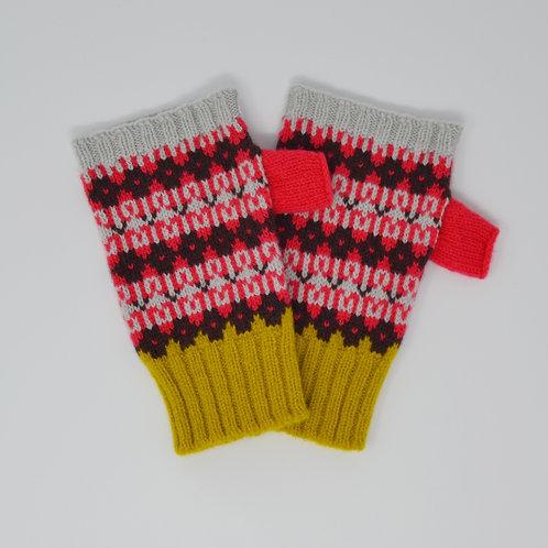 """"""" Heritage"""" bright multi colour fingerless gloves"""