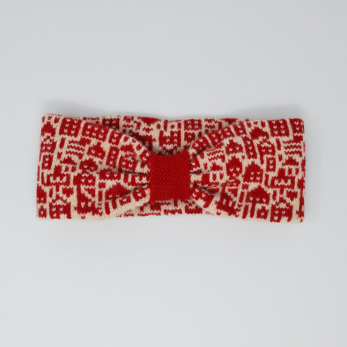 """Little city"" pattern red, cream  headband"