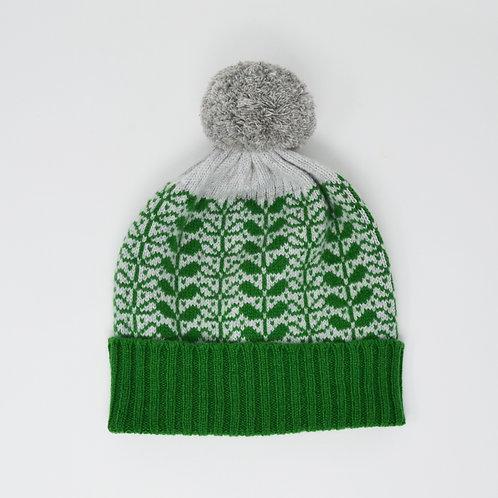Dark green, grey  pom pom hat with flora pattern