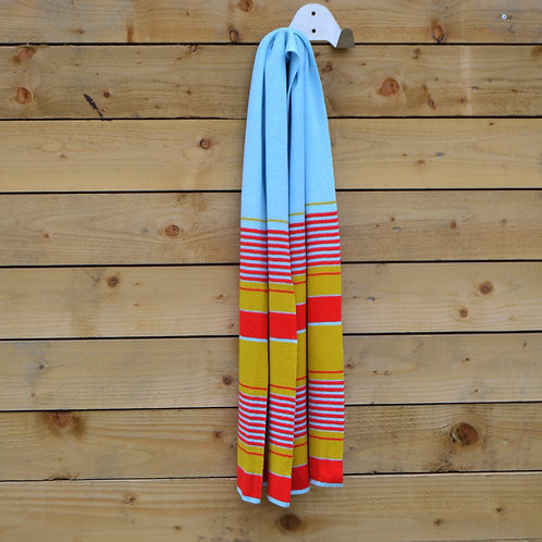Blue, red, yellow stripe scarf