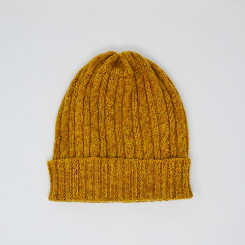 Mustard yellow cable knit hat, Lambswool, unisex