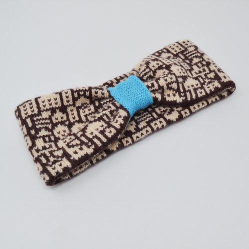 """""""Little city""""pattern headband in Brown, blue"""