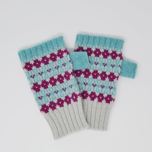 """ Heritage"" Mint blue, loganberry fingerless gloves"