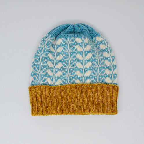 Skye blue,White hat with flora pattern, mustard edge