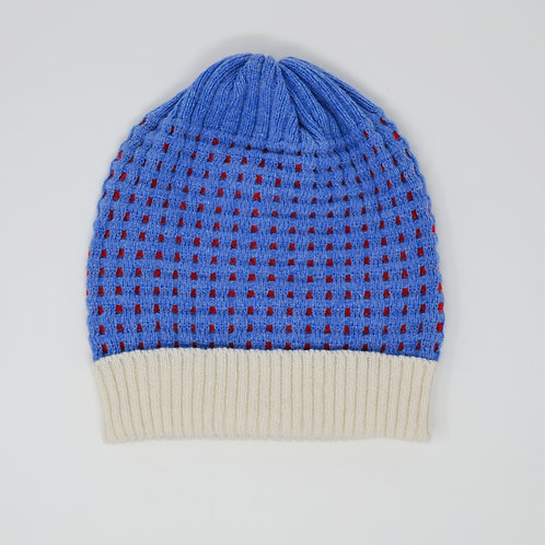 Textured unisex hat- blue, red with white rib