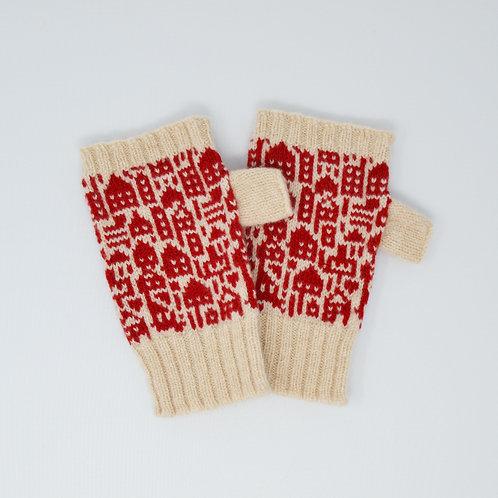 "Cream, red "" Little city""pattern  Extra soft Lambswool fingerless gloves"
