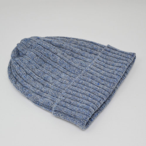 Blue grey cable knit hat, unisex