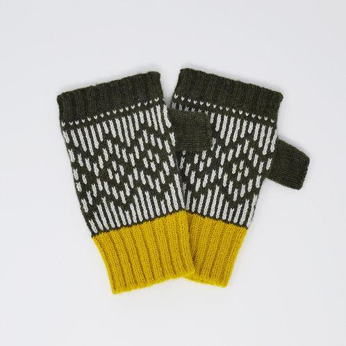""""""" Dundee graphics"""" Loden green, yellow fingerless gloves"""
