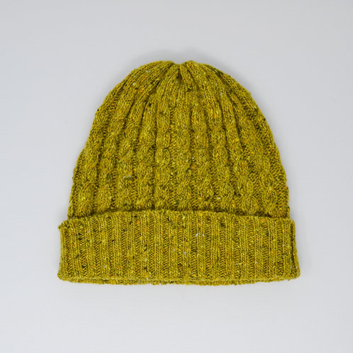 Green Donegal Cable knit beanie hat