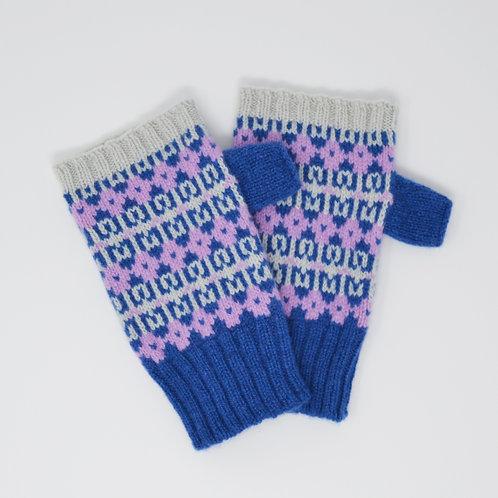 """ Heritage"" Dark blue, pink colour fingerless gloves"