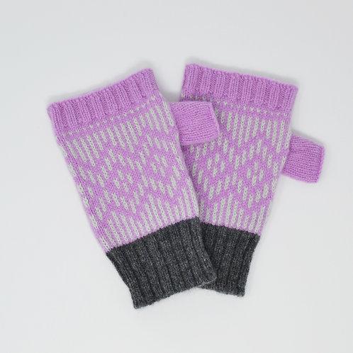 """ Dundee graphics"" Pink, grey  fingerless gloves"