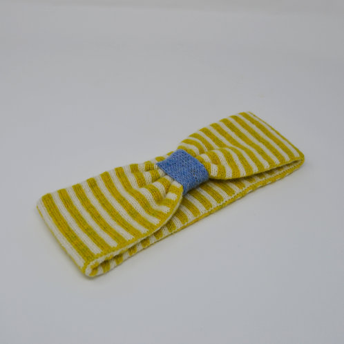 Yellow, white and blue headbands with stripes