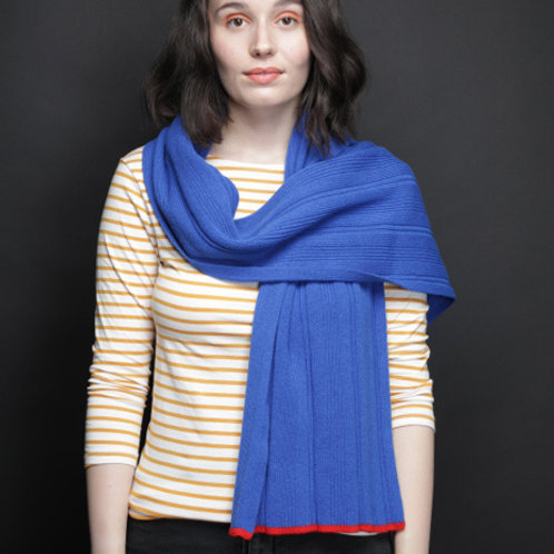 Royal blue scarf with red edge