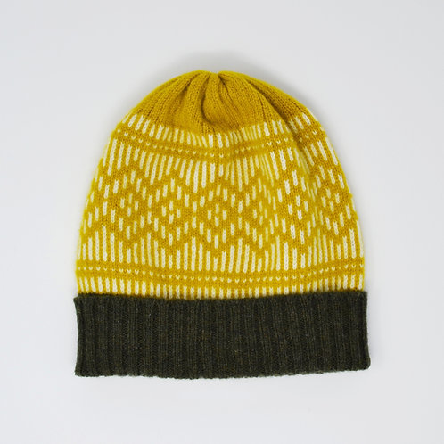 """""""Dundee Graphics"""" yellow, loden green hat"""