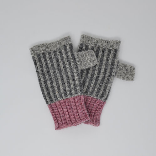 Grey stripe fingerless gloves with pink edge