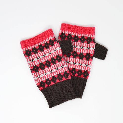 """ Heritage"" Brown, pink  fingerless gloves"