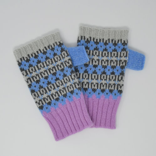 """ Heritage"" soft blue, pink colour fingerless gloves"