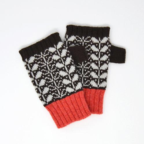 """""""Leaf pattern"""" brown fingerless Lambswool gloves"""