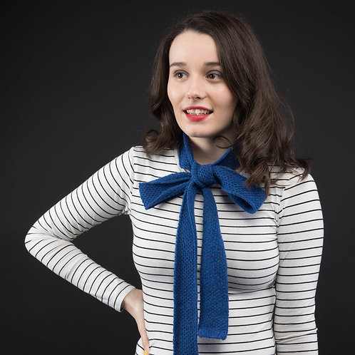 Dark blue skinny scarf
