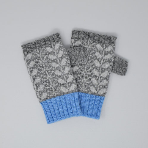 Grey, blue  Extra soft Lambswool fingerless gloves with flora