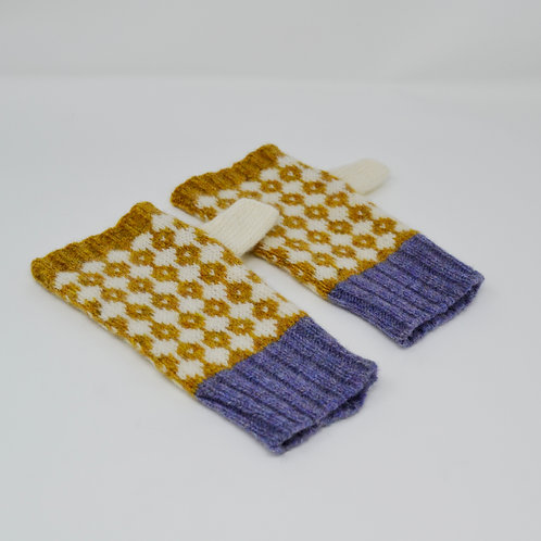 Mustard, white gloves with violet edge, knitted fingerless gloves