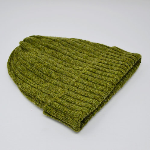 Olive green cable knit hat, unisex