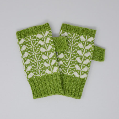 Apple green/white  Extra soft Lambswool fingerless gloves with flora p