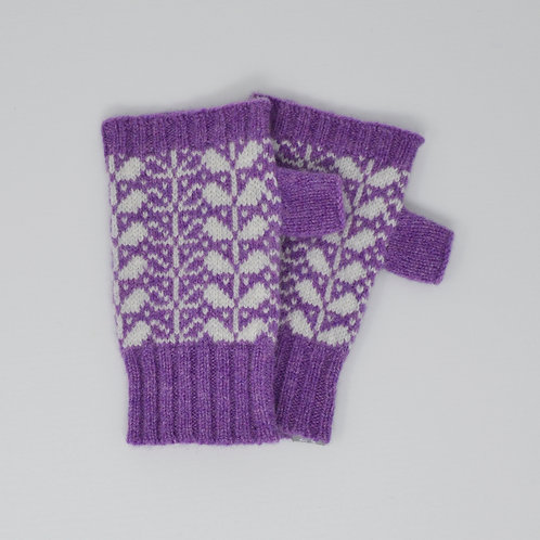 Violet/ Silver Extra soft Lambswool fingerless gloves with flora pattern