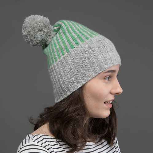 Light grey hat with apple green stripes and green Reflective pom pom