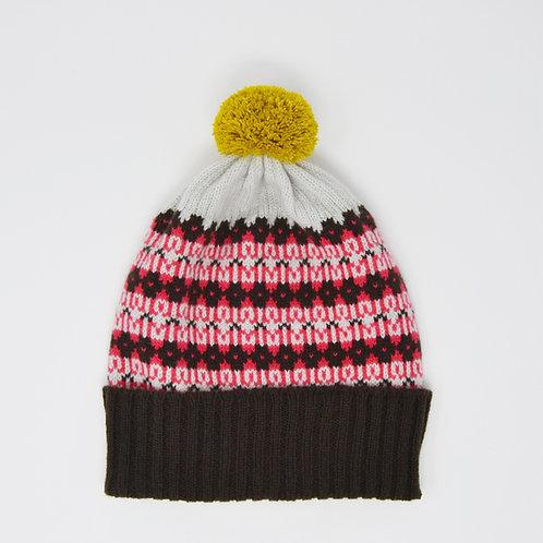 """""""Heritage"""" Brown multi colour pom pom hat"""