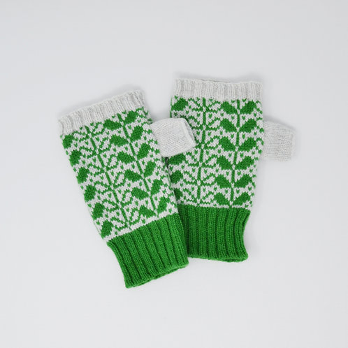 Dark green/light grey  Extra soft Lambswool fingerless gloves with flora p