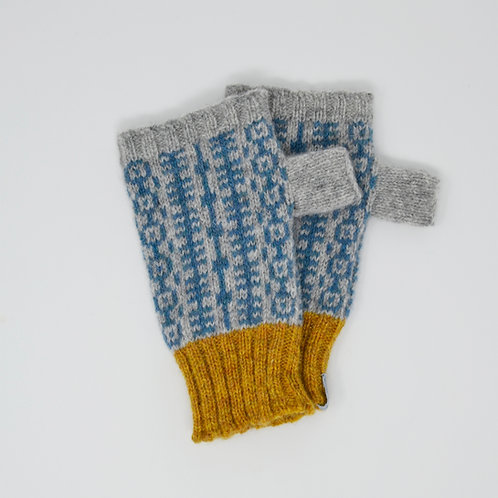 Grey and mustard gloves