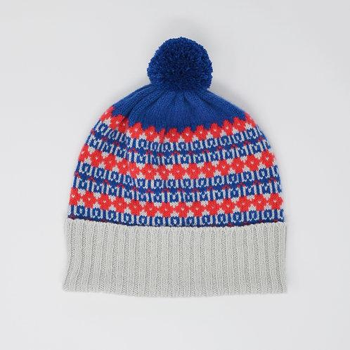 """""""Heritage"""" dark blue  multi colour pom pom hat"""