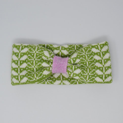 Apple green, white headband with flora pattern