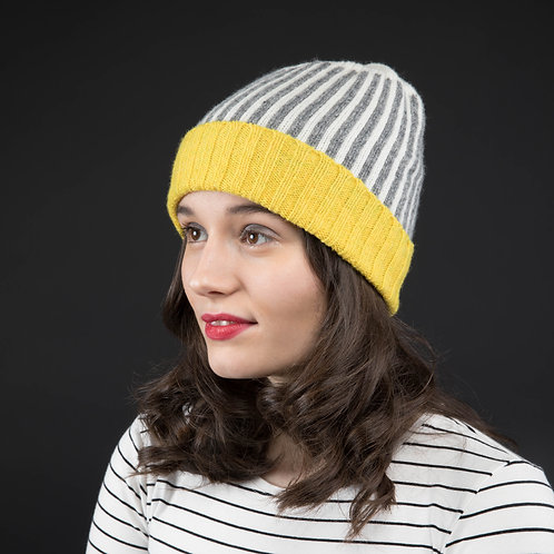Yellow, white and grey hat with stripes