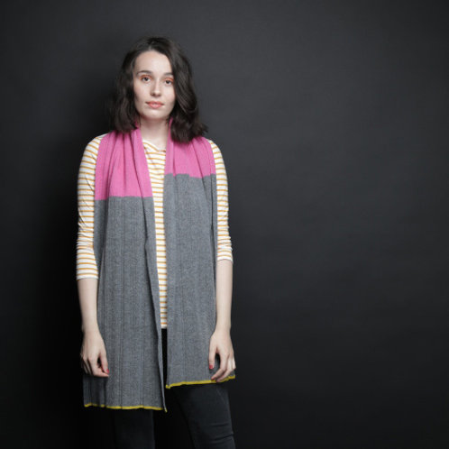 Lambswool scarf with pink, grey and yellow stripes