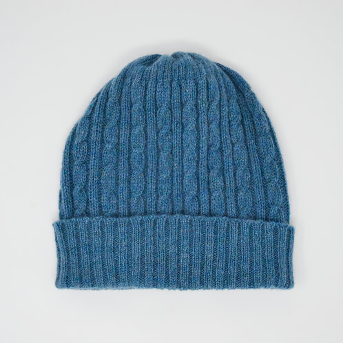 Teal blue cable knit hat, unisex