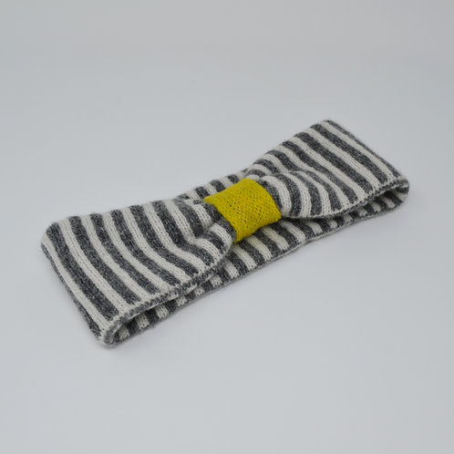 Grey, white and yellow headbands with stripes