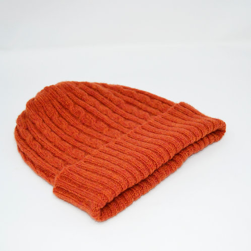 Orange Lambswool Cable knit hat, unisex hat