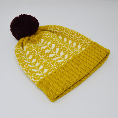 Mustard/white hat with flora pattern
