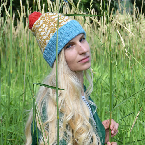 Mustard,white pom pom hat with blue rib part and flora pattern