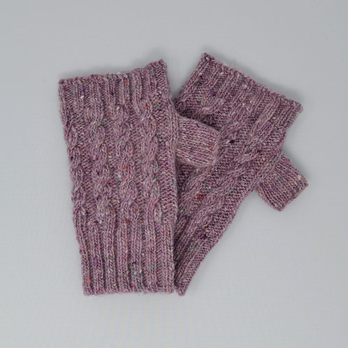 Pink Donegal Lambswool fingerless gloves with cable knit pattern