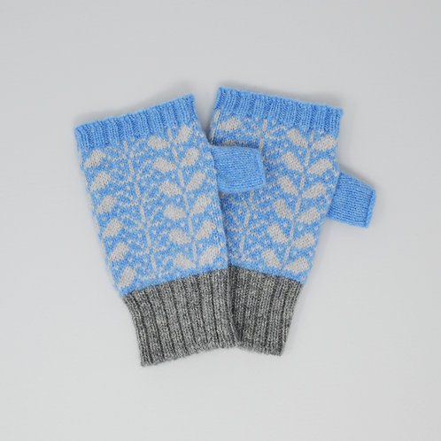 Blue, grey  Extra soft Lambswool fingerless gloves with flora
