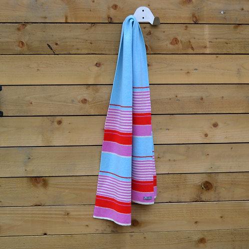 Blue, pink stripe scarf