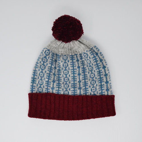 Teal and grey pom pom hat with Bordeaux edge