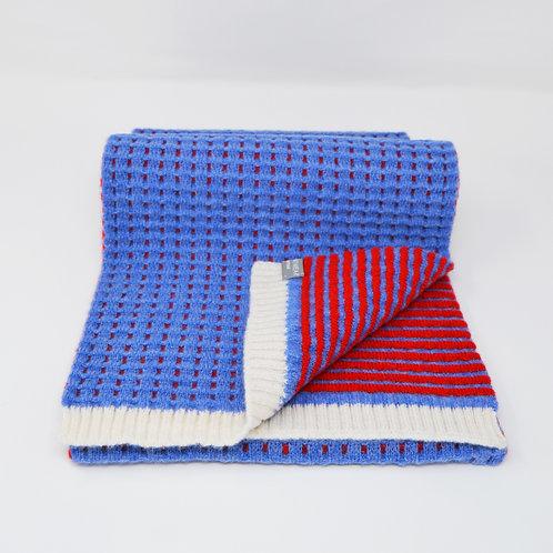 Blue,Red Ripple stitch scarf