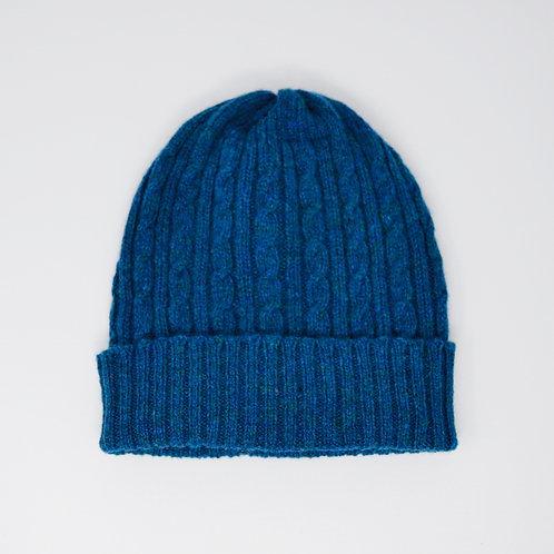 Dark blue cable knit hat, unisex