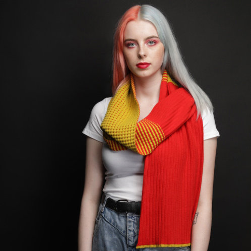 Yellow, red scarf