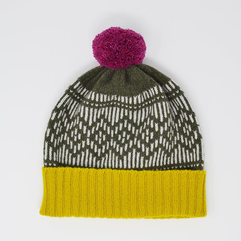 """""""Dundee Graphics"""" Loden green hat with purple pom pom"""