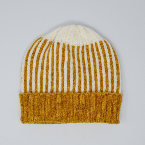 Mustard yellow/white hat with stripes, unisex
